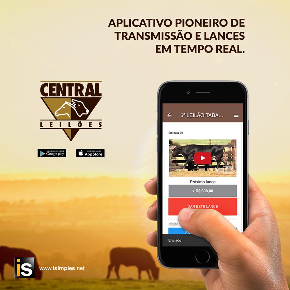 Aplicativo Central Leilões, assista ao vivo, de seu lance.